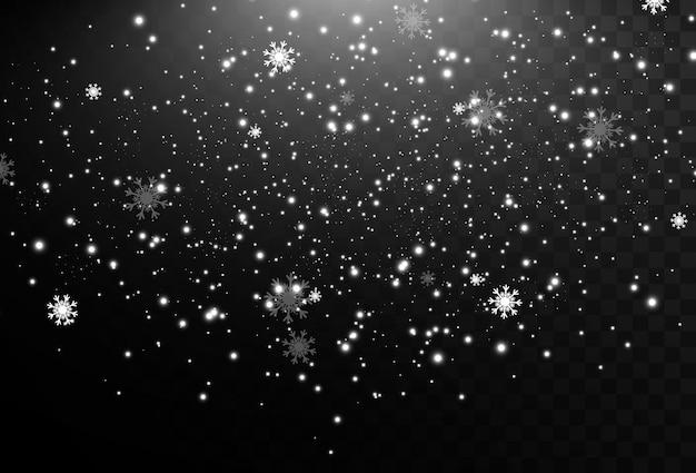 Natuurlijk fenomeen van sneeuwval of sneeuwstorm achtergrond