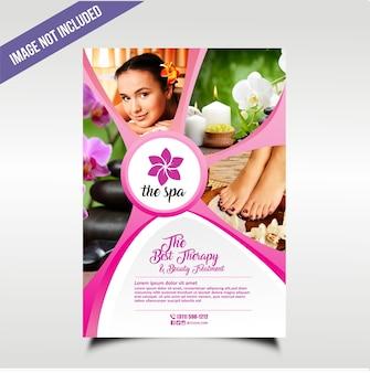 Natuurlijk frisse spa-flyer met roze kleur