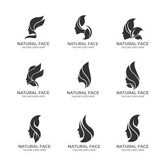 Natuurlijk gezicht logo set