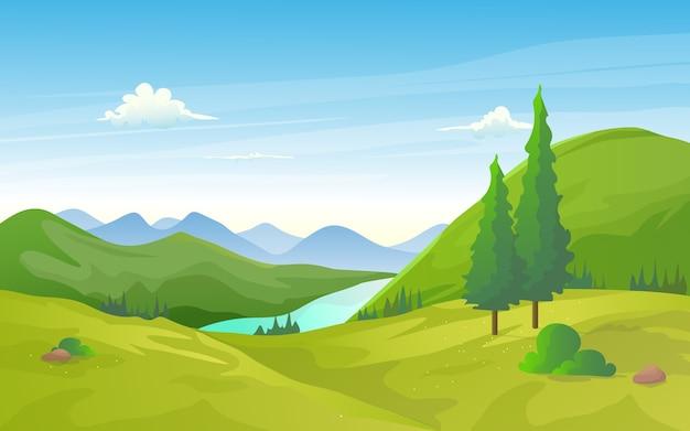 Natuurlijk groen valleilandschap met rivier en bergrij.
