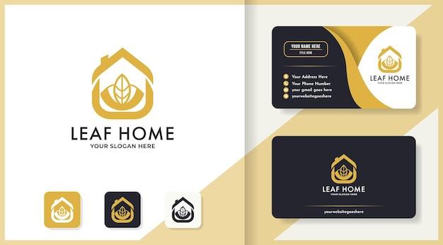 Natuurlijk huislogo-ontwerp en visitekaartje