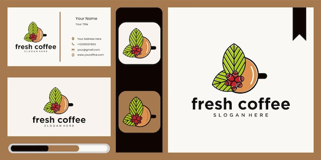 Natuurlijk koffie-logo met bladeren en kopje logo-pictogramontwerp voor café-restaurant natuurlijk café