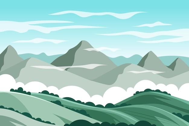 Natuurlijk landschap behang ontwerp