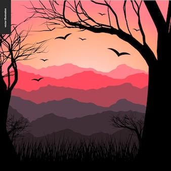 Natuurlijk landschap bij zonsondergang
