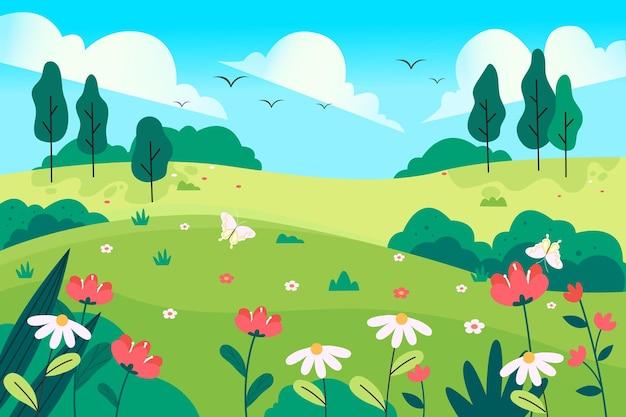 Natuurlijk landschap in het voorjaar