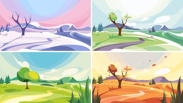 Natuurlijk landschap in verschillende periodes van het jaar. mooie niet-stedelijke scènes.