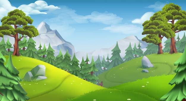 Natuurlijk landschap met bomen
