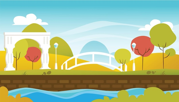Natuurlijk landschap met park en blauwe hemelillustratie