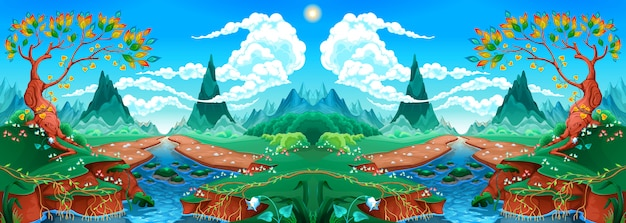 Natuurlijk landschap met rivier en bergen