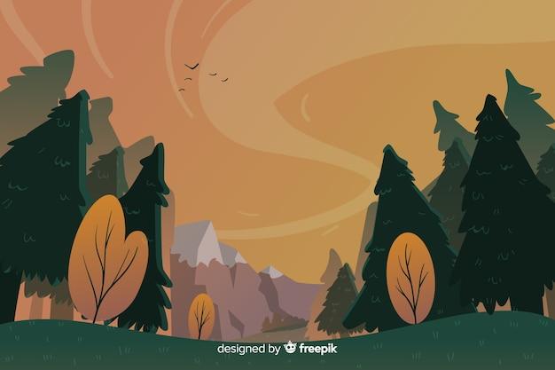 Natuurlijk landschaps plat ontwerp als achtergrond