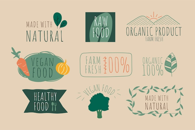 Natuurlijk logo en organisch groen spandoek- en labelontwerp