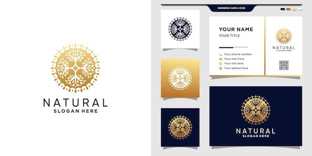 Natuurlijk logo met creatief concept en visitekaartje