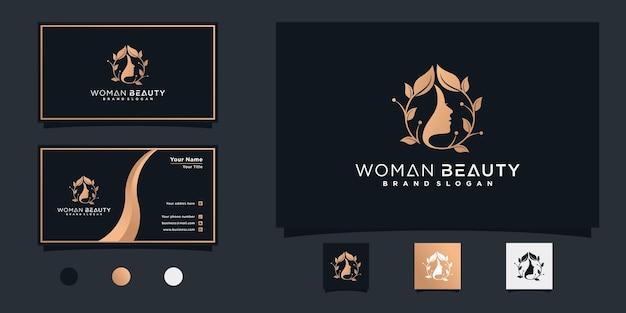 Natuurlijk mooi vrouwengezicht bloemembleem met gouden gradiëntconcept en visitekaartjeontwerp premium vector