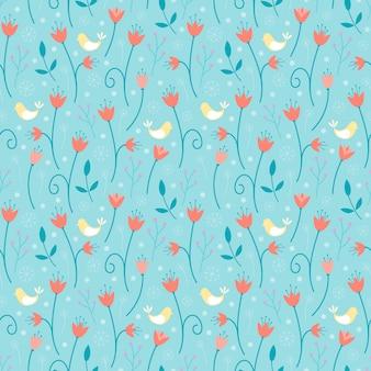 Natuurlijk naadloos patroon met bloemen en vogels