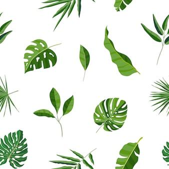 Natuurlijk naadloos patroon met groene tropische bladeren of verspreid exotisch gebladerte van jungleplanten. hawaiiaanse achtergrond. gekleurde botanische vectorillustratie voor inpakpapier.