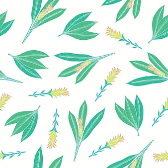 Natuurlijk naadloos patroon met kurkuma bladeren en bloeiwijzen. mooie ayurvedische bloeiende plant hand getekend op witte achtergrond. kleurrijke bloemenillustratie voor stoffenprint, achtergrond.
