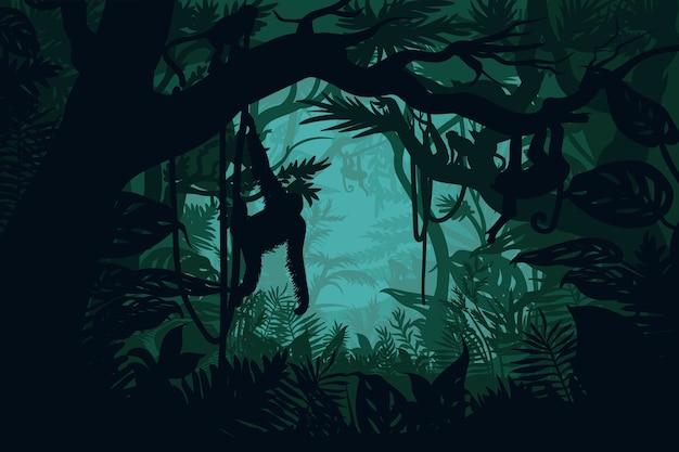 Natuurlijk oerwoudlandschap
