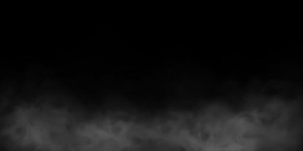 Natuurlijk rook- of misteffect op een zwarte transparante achtergrond. rook of mist. geïsoleerd.