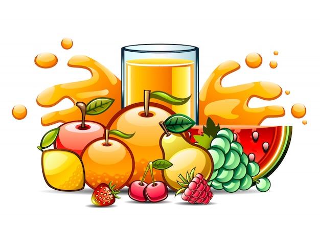 Natuurlijk sap en fruit