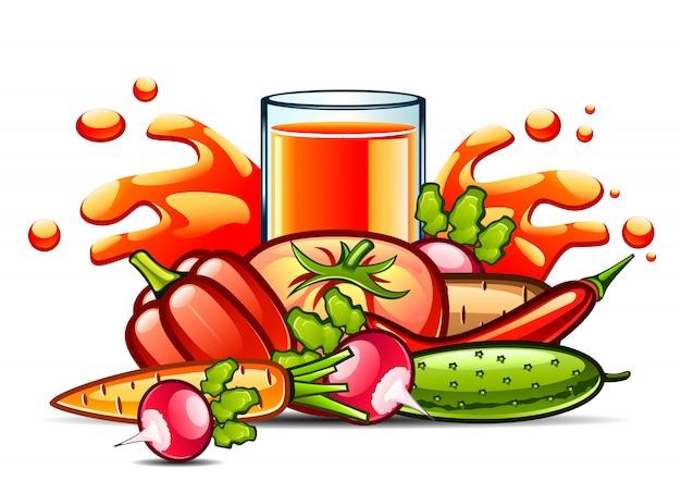 Natuurlijk sap en groenten