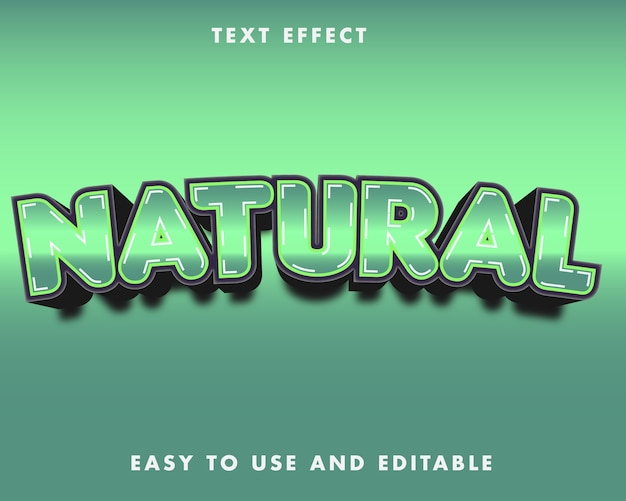 Natuurlijk teksteffect. bewerkbare lettertypestijl.