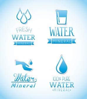 Natuurlijk water over blauwe achtergrond vectorillustratie