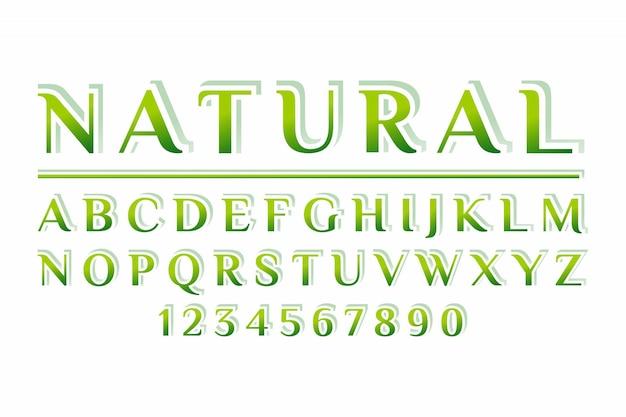 Natuurlijke 3d-weergave lettertype ontwerp, alfabet, letters
