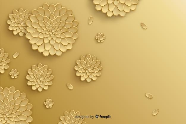 Natuurlijke achtergrond met 3d gouden bloemen