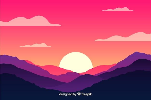 Natuurlijke achtergrond met bergenlandschap en zon