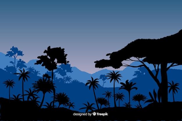 Natuurlijke achtergrond met blauw tropisch boslandschap