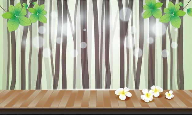Natuurlijke achtergrond met bomen van vloer de houten bloemen