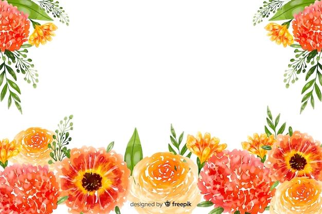 Natuurlijke achtergrond met kleurrijke aquarel bloemen