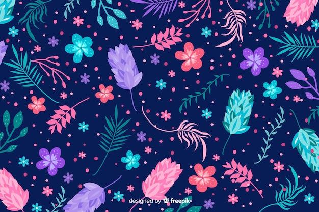 Natuurlijke achtergrond met kleurrijke exotische bloemen