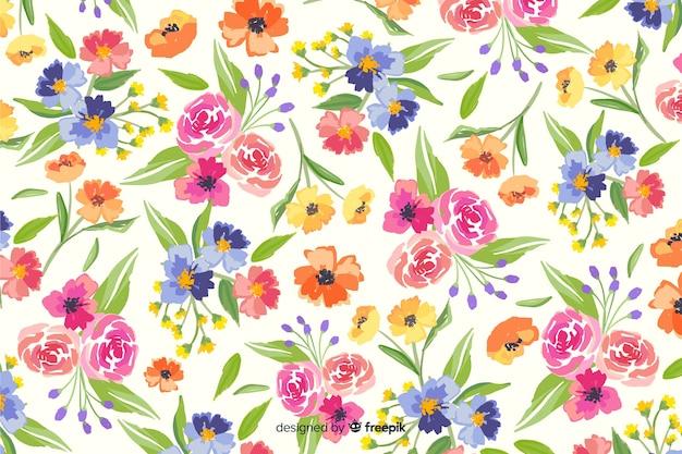 Natuurlijke achtergrond met kleurrijke geschilderde bloemen
