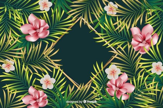 Natuurlijke achtergrond met realistische bloemen