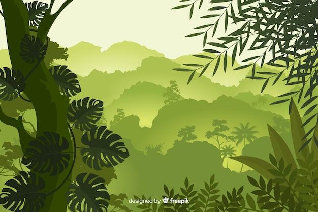 Natuurlijke achtergrond met tropisch boslandschap Premium Vector