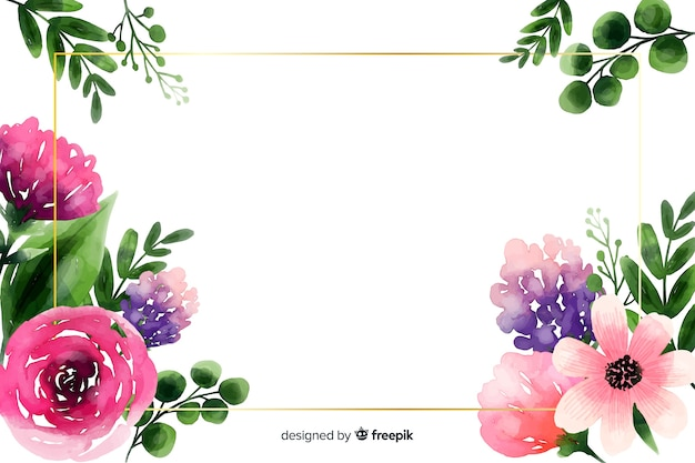 Natuurlijke achtergrond met waterverfbloemen