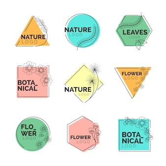 Natuurlijke bedrijfslogo-collectie in minimaal ontwerp