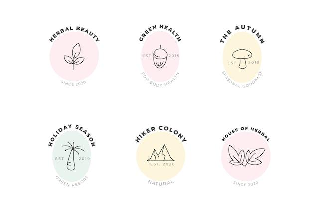 Natuurlijke bedrijfslogo sjabloon in minimalistische stijlcollectie