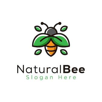 Natuurlijke bijen blad logo sjabloon