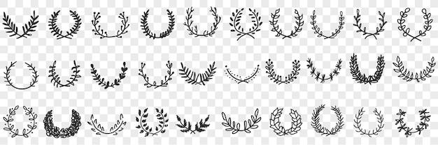 Natuurlijke bladeren ornament en krans doodle set