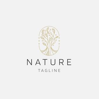 Natuurlijke boom bloem elegante gouden kleur logo pictogram ontwerp sjabloon platte vectorillustratie