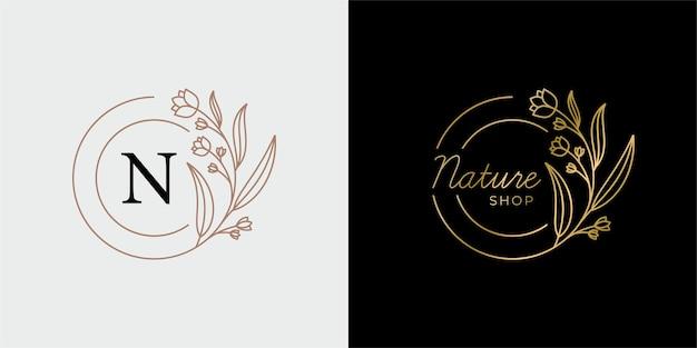Natuurlijke botanische winkel met luxe plantenbloem schoonheidslogo
