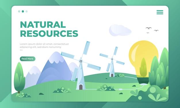 Natuurlijke bronnen op bestemmingspagina-sjablonen