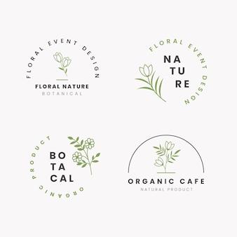 Natuurlijke business logo pack sjabloon in minimalistische stijl