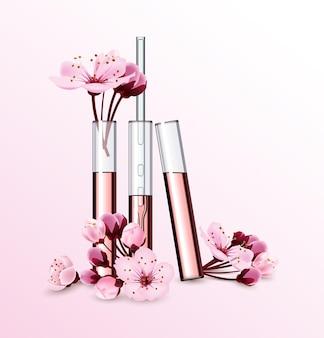 Natuurlijke cosmetica parfum bloemextract in vitrocosmetische advertenties sjabloon