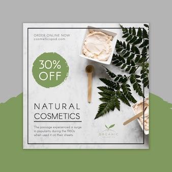 Natuurlijke cosmetica vierkante flyer