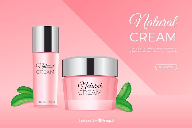 Natuurlijke crème advertentie in realistische stijl