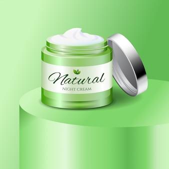 Natuurlijke crème plastic pot, huidverzorgingsproduct, cosmetica verpakking, illustratie.