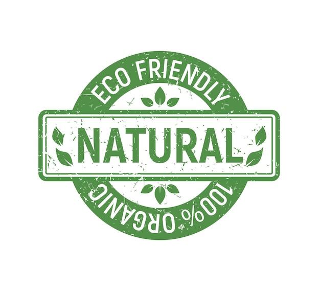 Natuurlijke eco biologische stempelset groene rubberen badge voor veganistische winkel en goederen in grunge-stijl